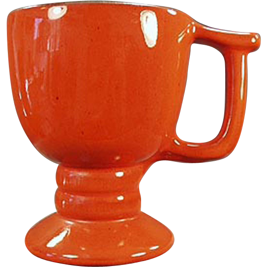 Old Frankoma- Footed Mug in Bold, Flame Glaze