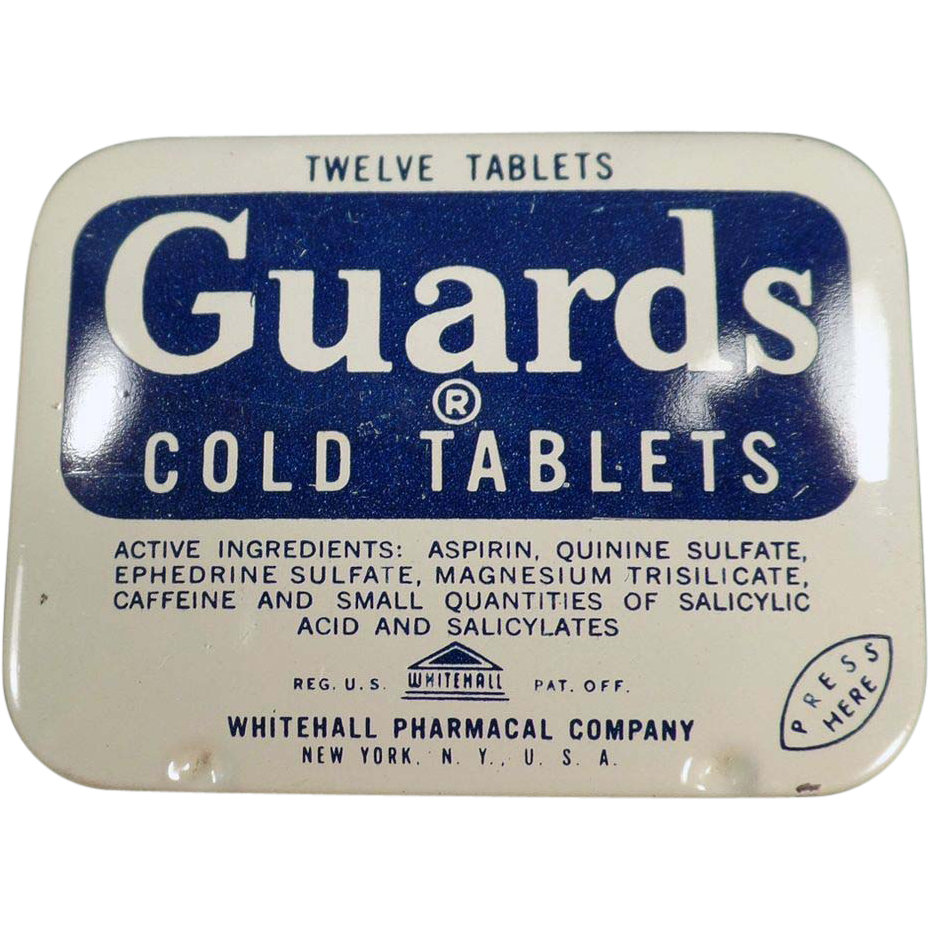 Old, Guards Cold Tablets, Aspirin Tin