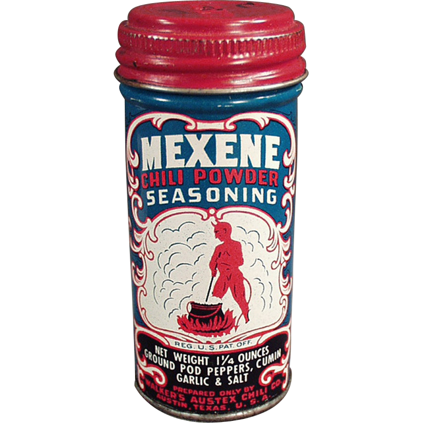 Old, Mexene, Spice Tin with Devil Graphics