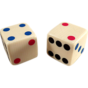 Old, Vegetable Ivory Dice with Colored Pips