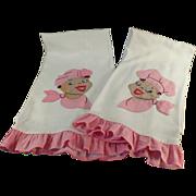 Old, Black Memorabilia - Pair of Decorative Dish Towels - Mammy & Chef