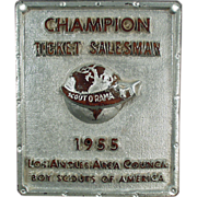 Old, 1955, Scout-O-Rama Plaque - Ticket Salesman Champion - Red Tag Sale Item