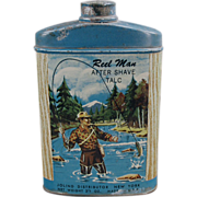 """Old, """"Reel Man"""" After Shave Talc Tin - Nice Sportsman Graphics"""