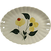 Old Serving Platter with Floral Design of Yellow Flowers