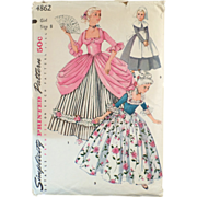 Old Costume Pattern - Simplicity #4862, Colonial Dresses - Girl's Size 8