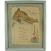 Old, Framed, Motto Print; Love to Mother
