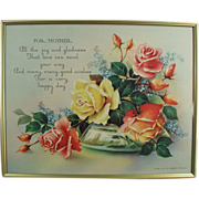 """Old, Framed, Motto Print - """"For Mother!"""" with Roses"""