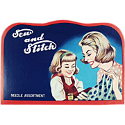 "Old, Sewing Needle Book - ""Sew and Stitch"" with Mother & Daughter Graphics"