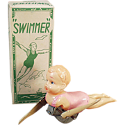 Old Wind Up Toy - Celluloid Swimmer with Original Box