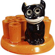 Old, Black Cat Novelty with Felix Like Figure - Made in Germany