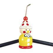 Child's, Old Clothes Hanger with Painted, Figural Clown