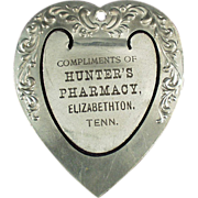 Old, Aluminum Bookmark - Hunter's Pharmacy Advertising