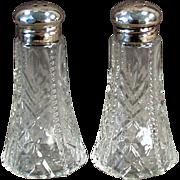 Old Salt & Pepper Set -  Sterling Silver & Pressed Glass