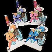 Old, Paper Placecards - Japanese Geishas in Rickshaws