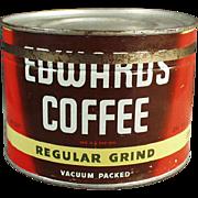 Old, Edwards Coffee Tin - 1# Key Wind