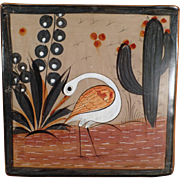 Mexican Pottery - Trivet - White Bird Image - Muted Glaze