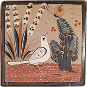 Mexican Pottery Trivet - White Bird & Butterfly - Muted Glaze