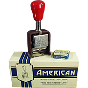 "Old, ""American"" Numbering Machine with Original Box"