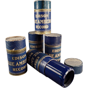 Old Cylinder Phonograph Records -Edison, Blue Amberol- 5 w- Original Boxes