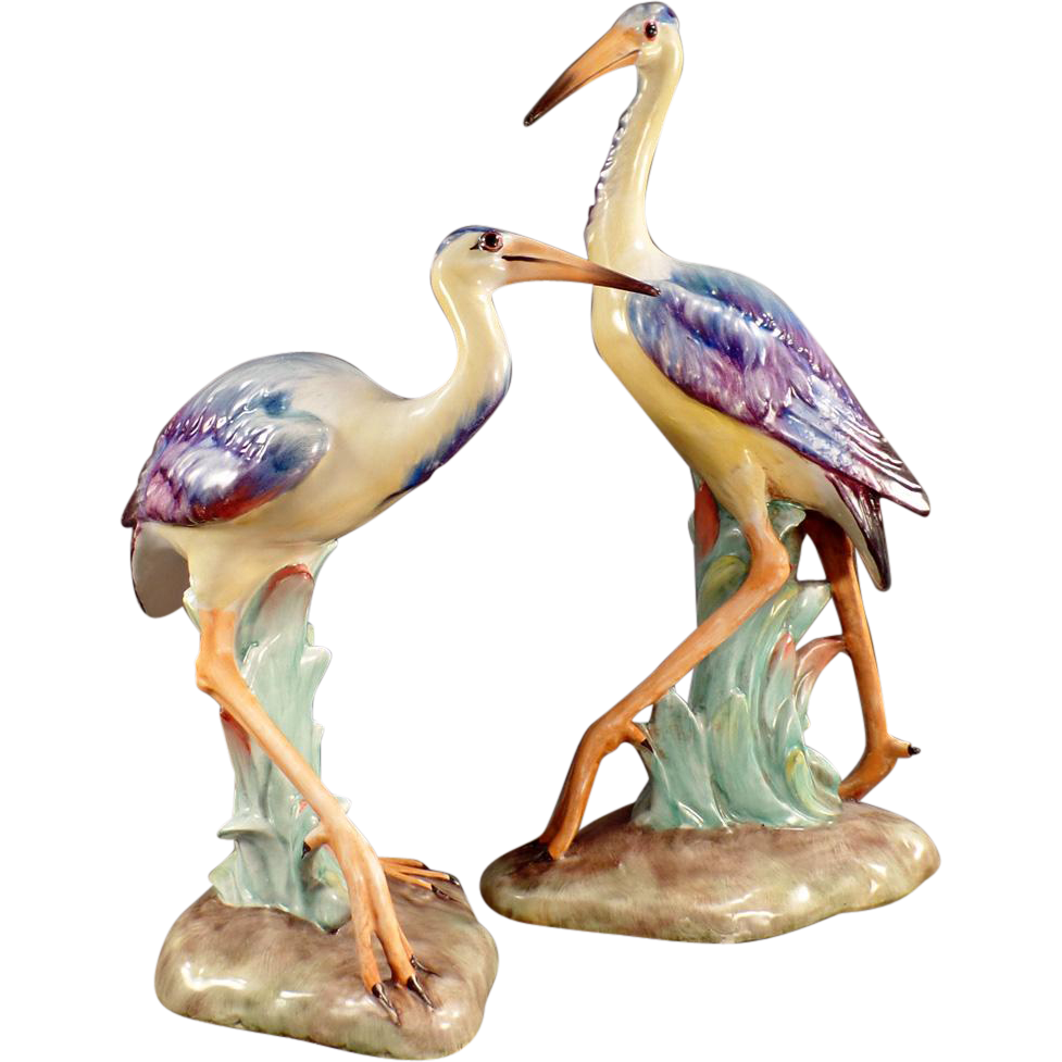 Old Bird Figurines Beautiful Pair Made In Italy