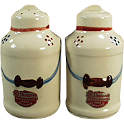Old S & P Set - Shawnee Milk Cans with Original Labels