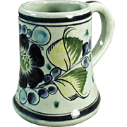 Pottery Coffee Mug - Tonala Mexico, Pretty Floral Design