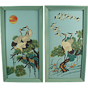 Old Wall Hangings - Colorful Birds in Original Turquoise Frames