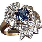 Ladies, Vintage Cocktail Ring - 14k, Yellow & White Gold, Blue Topaz and Diamonds