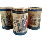 Old, Columbia, 2-Minute, Cylinder Phonograph Records - 3 w- Boxes
