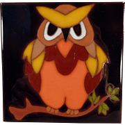 Old Art Tile - Colorful Owl Design - Edilgres, Italy