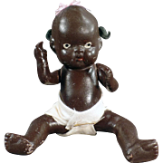 "Old, Black Baby Doll - Almost 7"" - Japanese Bisque"