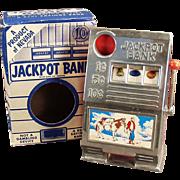 Old, Jackpot Slot Machine, Toy Bank with Original Box