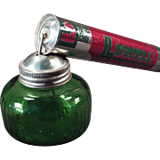Old, Lowell, Pump Spray Atomizer Tin with Green Glass Bottle