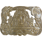 "Old, Lillie Langtry ""The Jersey Lily"", Brass Belt Buckle"