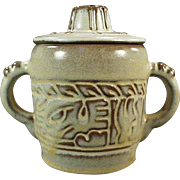 Old, Frankoma Pottery - Covered Sugar, Mayan Aztec Pattern