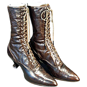 Ladies, Old, High Top Leather Shoes - French Heeled