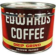 Old, Edwards Coffee Tin - Half Pound Size, Key Wind