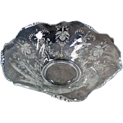 "Old Heisey, 12"" Crimped Bowl - Orchid Etch on Waverly Pattern"