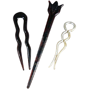 Old Hairpins - 3 Different Styles, Celluloid & Faux Tortoise Shell