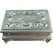 Old, Casket-Style, Unusual Jewelry Box - Aluminum
