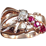 Ladies, Old, Retro Style Ring - 14k Rose Gold, Ruby & Diamonds