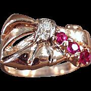 Ladies, Old, Retro Style Ring - 14k Rose Gold, Ruby & Diamonds