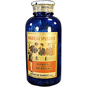 Old, Cobalt Blue Bottle with Magnesia Spumante Label
