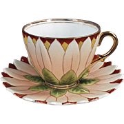 Old Cup & Saucer - Petaled Flower - German Porcelain