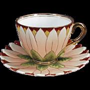 Old Cup & Saucer - Petaled Flower - German Porcelain
