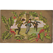 Vintage, Christmas Postcard - Children Ice Skating