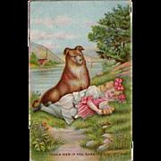 Vintage Postcard - Little Girl with Devoted Dog