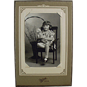 Old Photograph in Easel Frame - Little Girl with Teddy Bear