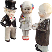 Old, Bisque Bride & Groom Dolls with Preacher