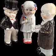 Old, Bisque Bride & Groom Dolls with Preacher